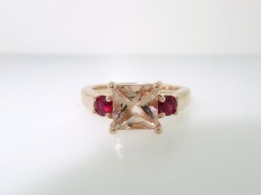 Morganite & Rubies Engagement Ring, Princess Cut Three Stone Wedding Ring, Unique 1.80 Carat 14K Rose Gold