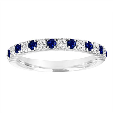 Platinum Sapphire and Diamond Wedding Band, Half Eternity Alternating Wedding Ring, Anniversary Ring, 0.50 Carat Certified Handmade