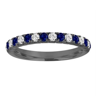 Alternating Sapphire and Diamond Wedding Ring, Half Eternity Wedding Band, Black Gold Anniversary Ring, 0.50 Carat Certified Handmade