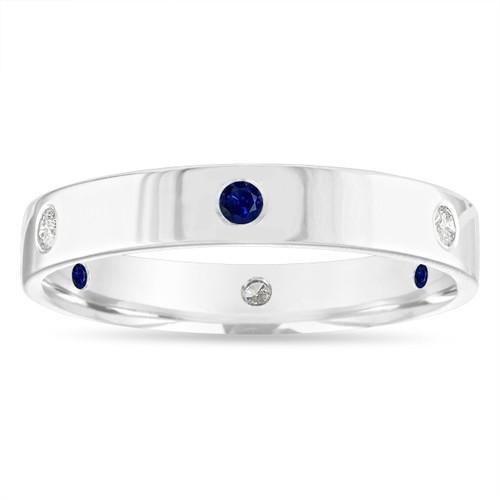 Alternating Sapphire and Diamond Eternity Wedding Band, 5 mm Diamond Wedding Ring, Mens Flat Wedding Band 14k White Gold Anniversary Ring