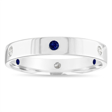 Alternating Sapphire and Diamond Eternity Wedding Band, 5 mm Diamond Wedding Ring, Mens Flat Wedding Band 14k White Gold Anniversary Ring