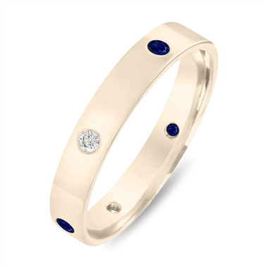 Alternating Sapphire and Diamond Eternity Wedding Band, 5 mm Diamond Wedding Ring, Mens Flat Wedding Band 14k Yellow Gold Anniversary Ring