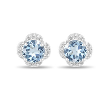 3.32 Carat Aquamarine Earrings, Flower Cluster Diamond Earrings, Stud Earrings, 14K White Gold Halo Pave Handmade Unique