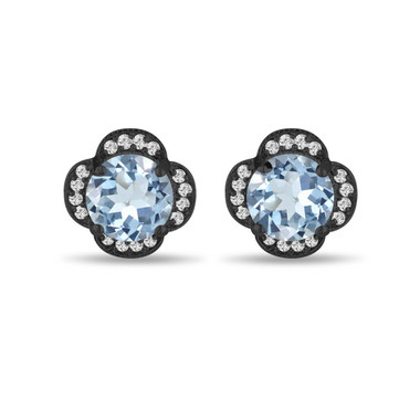 Aquamarine & Diamonds Earrings, Flower Cluster Earrings, 3.32 Carat Vintage Stud Earrings, 14K Black Gold Halo Pave Handmade Unique