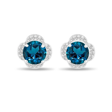 3.52 Carat London Blue Topaz Earrings, Flower Cluster Diamond Earrings, Stud Earrings, 14K White Gold Halo Pave Handmade Unique
