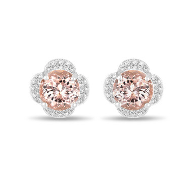 3.32 Carat Morganite Earrings, Diamond Floral Cluster Earrings, Pink Peach Morganite Stud Earrings, 14K White Gold Halo Pave Handmade Unique