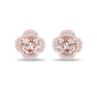 Morganite Earrings Rose Rose, 3.32 Carat Diamond Floral Cluster Earrings, Pink Peach Morganite Stud Earrings, Halo Pave Handmade Unique