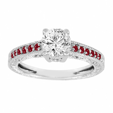 Platinum Diamond & Rubies Engagement Ring, Vintage Ruby Wedding Ring, Certified 0.70 Carat Unique Antique Style Handmade