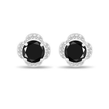 5.02 Carat Back Diamond Earrings, Flower Earrings, Cluster Stud Earrings, Floral Earrings 14K White Gold Halo Pave Handmade Unique Certified