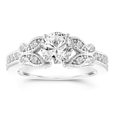 Butterfly Diamond Engagement Ring, Gia Certified 1.18 Carat Wedding Ring, Pave Bridal Ring, 14k White Gold Handmade Unique
