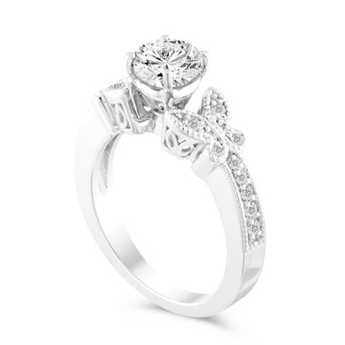 Diamond Engagement Ring, Butterfly Wedding Ring, Gia Certified 0.88 Carat Bridal Ring, 14k White Gold Handmade Unique Pave