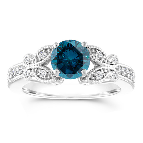 Blue Diamond Engagement Ring, Butterfly Wedding Ring 14K White Gold 1.20 Carat Certified Pave Handmade Unique