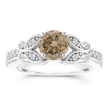 Champagne Diamond Engagement Ring, Brown Diamond Butterfly Wedding Ring, 14K White Gold 1.20 Carat Certified Pave Handmade Unique