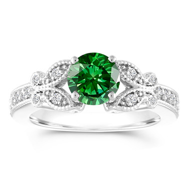 Green Diamond Engagement Ring, Butterfly Wedding Ring, 14K White Gold 1.18 Carat Certified Pave Handmade Unique