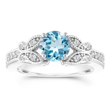 Aquamarine and Diamond Engagement Ring, Butterfly Wedding Ring, 14K White Gold 1.03 Carat Certified Pave Handmade Unique
