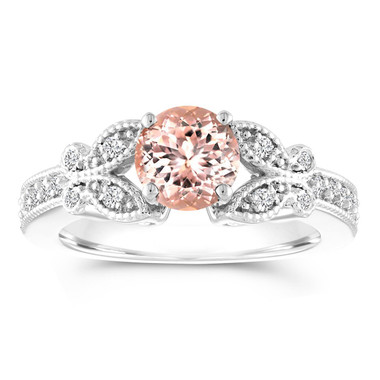 Morganite and Diamond Engagement Ring, Butterfly Morganite Wedding Ring, 14K White Gold 1.08 Carat Certified Pave Handmade Unique