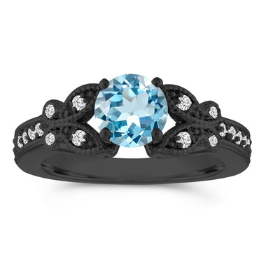 Vintage Aquamarine Engagement Ring, Butterfly Wedding Ring, 14K Black Gold 1.03 Carat Certified Pave Handmade Unique