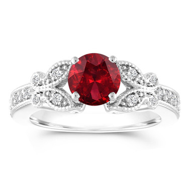 1.38 Carat Garnet Engagement Ring, Red Garnet and Diamonds Wedding Ring, Anniversary Butterfly Ring, 14K White Gold Certified Pave Unique