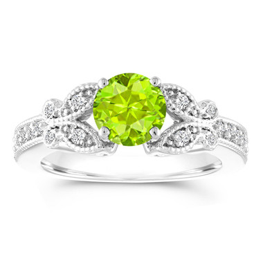 Peridot Butterfly Engagement Ring, Peridot Wedding Ring, 1.18 Carat Anniversary Ring, 14K White Gold Certified Pave Unique