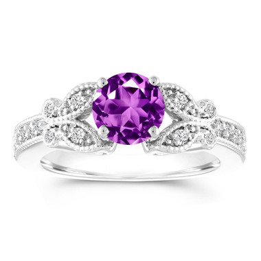 Amethyst Butterfly Engagement Ring, Amethyst and Diamonds Wedding Ring, 1.18 Carat Anniversary Ring, 14K White Gold Certified Pave Unique