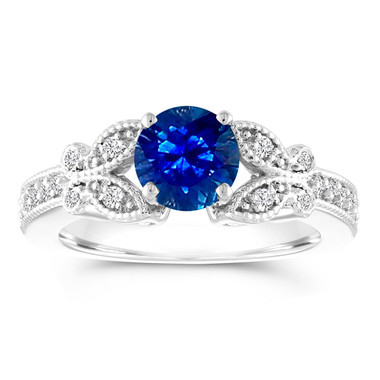 Sapphire Butterfly Engagement Ring, Sapphire and Diamonds Wedding Ring, 1.18 Carat Anniversary Ring, 14K White Gold Certified Pave Unique