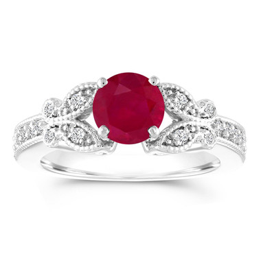 Butterfly Ruby Engagement Ring, Ruby and Diamonds Wedding Ring, Ruby Anniversary Ring, 1.18 Carat 14K White Gold Certified Pave Unique