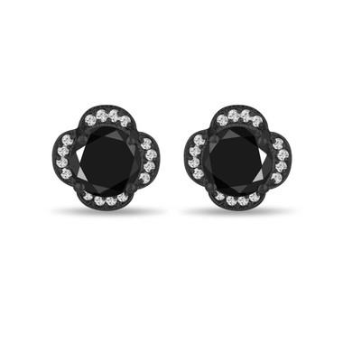 Vintage Back Diamond Earrings, Flower Earrings, 5.02 Carat Stud Earrings, Floral Earrings 14K Black Gold Halo Pave Handmade Unique Certified
