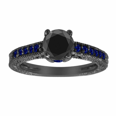 1.30 Carat Black Diamond & Sapphire Engagement Ring, Vintage Engagement Ring, 14K Black Gold Unique Bridal Ring, Pave Handmade Certified