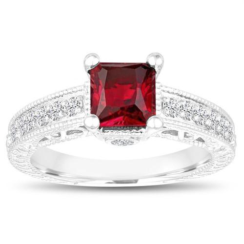 Princess Cut Garnet Engagement Ring, Garnet and Diamonds Wedding Ring, 1.55 Carat 14k White Gold Unique Vintage Antique Style Handmade