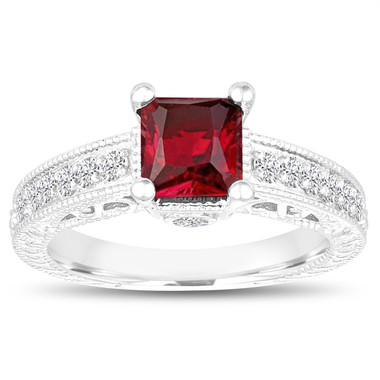 Princess Cut Garnet Engagement Ring, Garnet and Diamonds Wedding Ring, 1.55 Carat 14k White Gold Unique Vintage Antique Style Handmade