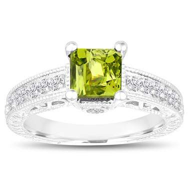 Princess Cut Peridot Engagement Ring, Peridot and Diamonds Wedding Ring, 1.37 Carat 14k White Gold Unique Vintage Antique Style Handmade