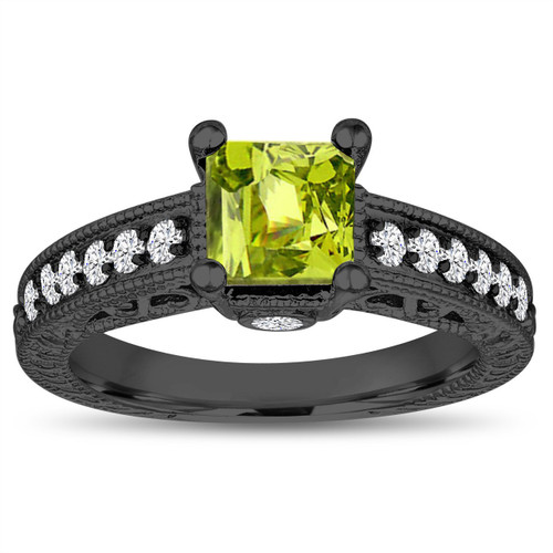 1.37 Carat Princess Cut Peridot Engagement Ring, Peridot and Diamonds Wedding Ring, 14k Black Gold Unique Vintage Antique Style Handmade
