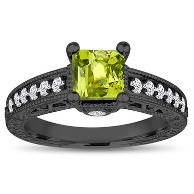 1.37 Carat Princess Cut Peridot Engagement Ring, Peridot and Diamonds Wedding Ring, 14k Black Gold Unique Vintage Antique Style Handmade
