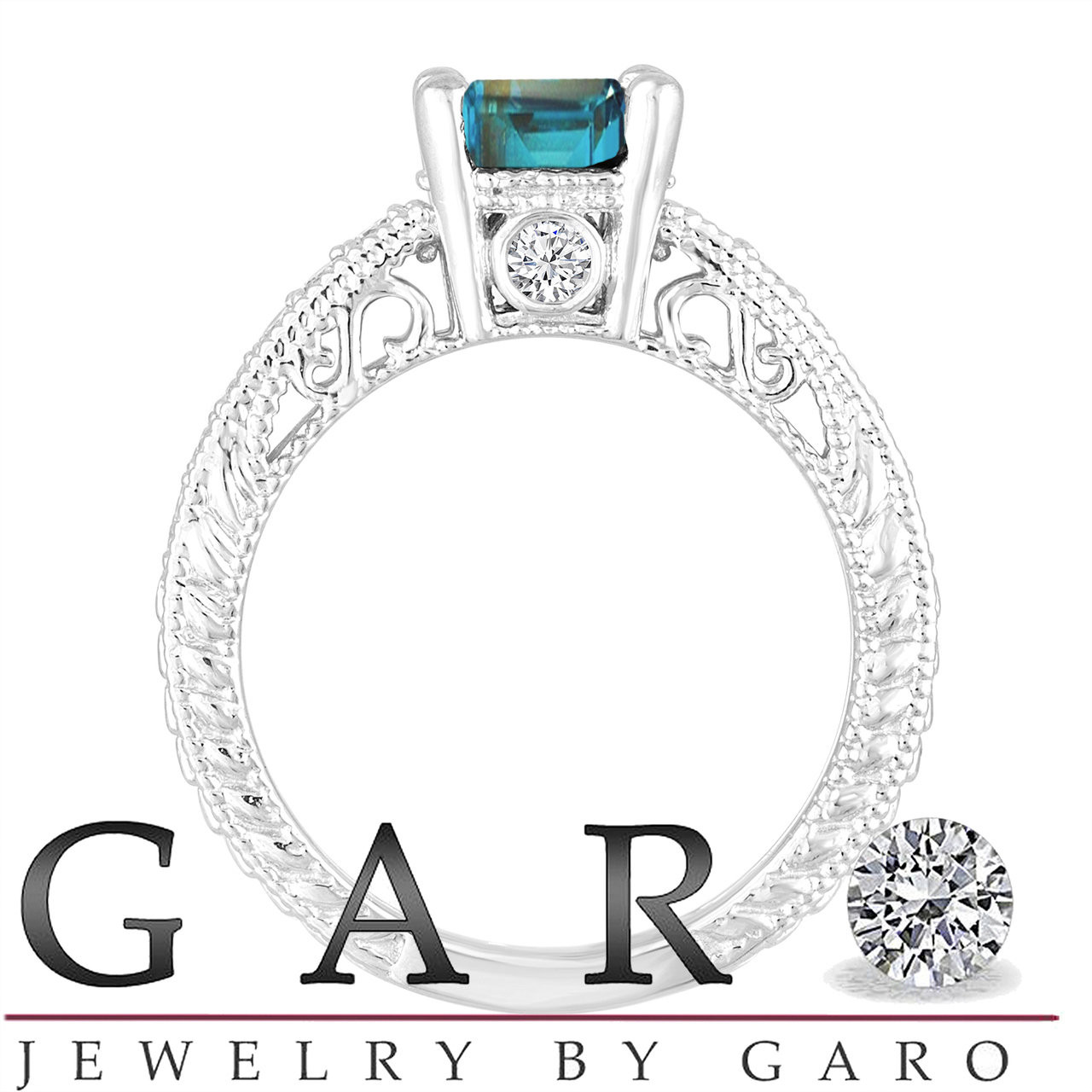 Jewelry & Watches 1.37 Ct Blue Topaz And Diamonds Ring 14k White Gold Natural With Latest Technology Diamond