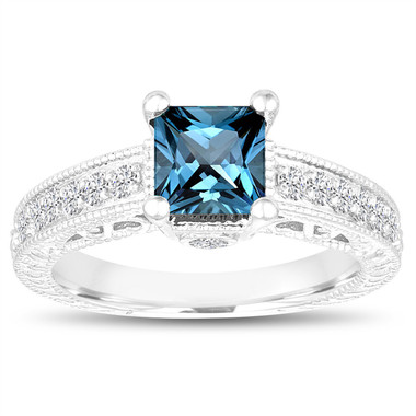 Princess Cut London Blue Topaz Engagement Ring, Wedding Ring, 1.37 Carat 14k White Gold Unique Vintage Antique Style Handmade Certified