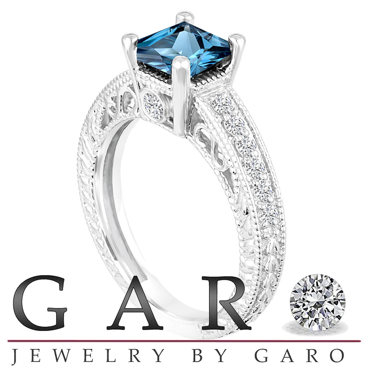 Jewelry & Watches 1.37 Ct Blue Topaz And Diamonds Ring 14k White Gold Natural With Latest Technology Fine Jewelry Sets