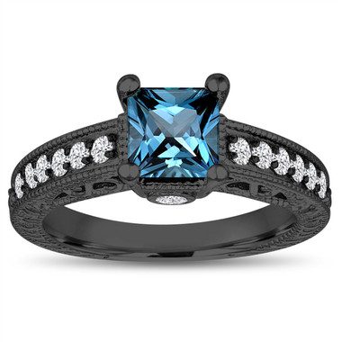 London Blue Topaz Engagement Ring, Princess Cut Engagement Ring, 1.37 Carat 14k Black Gold Unique Vintage Antique Style Handmade Certified