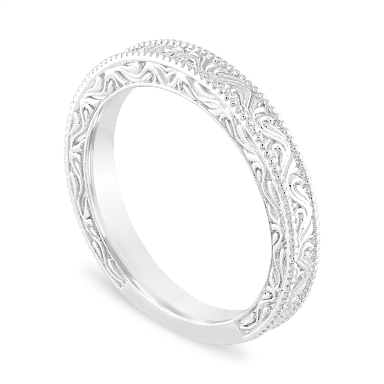 Vintage Wedding Band.Filigree Wedding Band Vintage Wedding Ring Anniversary Ring Antique Style Engraved 14k White Gold Handmade