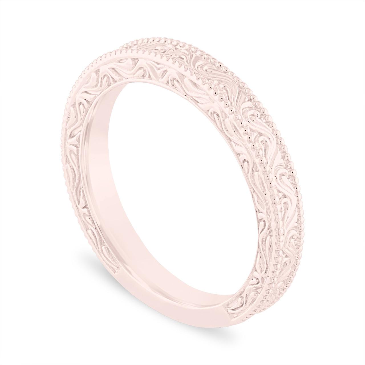 Filigree Wedding Band.Filigree Wedding Band Vintage Wedding Ring Anniversary Ring Antique Style Engraved 14k Rose Gold Handmade