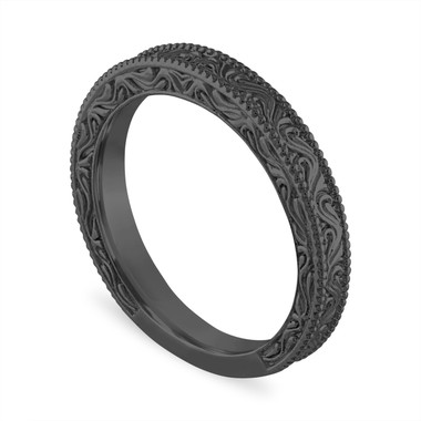 Vintage Wedding Band, Filigree Wedding Ring, Anniversary Ring, Antique Style Engraved 14K Black Gold Handmade