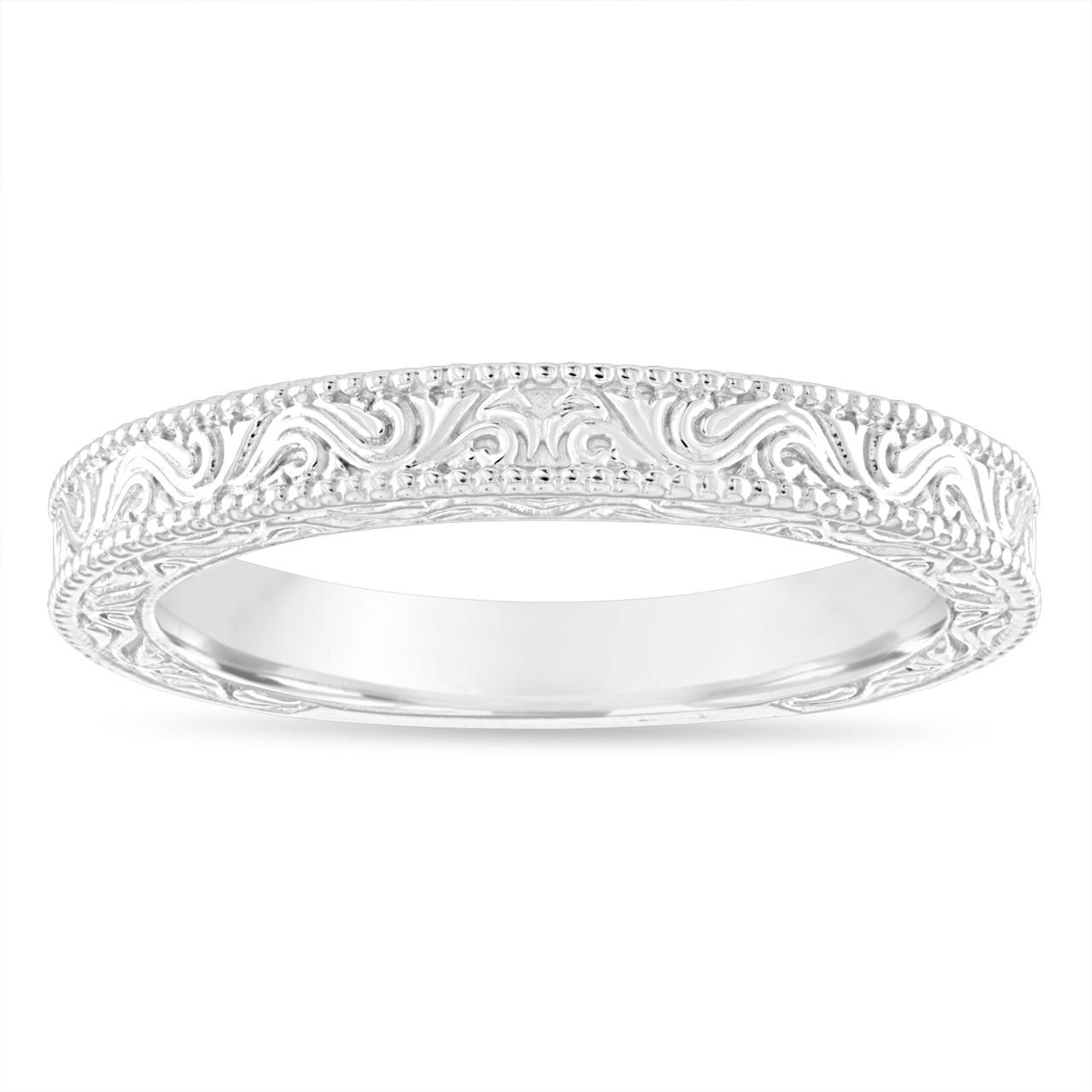 Filigree Wedding Band.Platinum Wedding Band Vintage Wedding Ring Filigree Anniversary Ring Antique Style Engraved Handmade