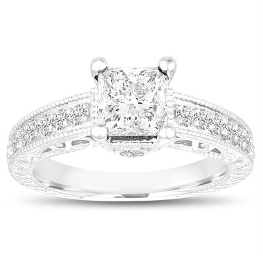 Princess Cut Diamond Engagement Ring, Vintage Engagement Ring, GIA Certified 1.35 Carat 14k White Gold Unique Antique Style Pave Handmade