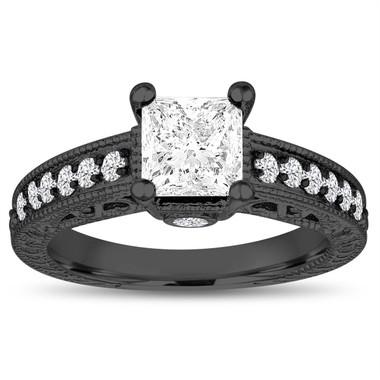 VS2 Princess Cut Diamond Engagement Ring, Vintage Engagement Ring GIA Certified 1.35 Carat 14k Black Gold Unique Antique Style Pave Handmade