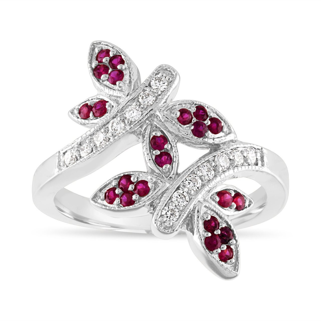 1edd67cbfe515 Ruby and Diamonds Wedding Ring, Butterfly Cocktail Ring, Anniversary Ring,  14K White Gold 0.40 Carat Pave Unique Handmade
