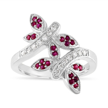 Ruby and Diamonds Wedding Ring, Butterfly Cocktail Ring, Anniversary Ring, 14K White Gold 0.40 Carat Pave Unique Handmade