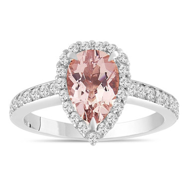 Pear Shapde Morganite Engagement Ring, Morganite and Diamonds Wedding Ring, 14K White Gold Certified 1.58 Carat Pave Halo Unique Handmade