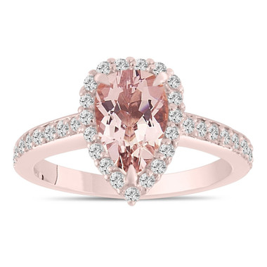 Rose Gold Morganite Engagement Ring, Pear Shaped Morganite and Diamond Wedding Ring, Certified 1.58 Carat Pave Halo Unique Handmade