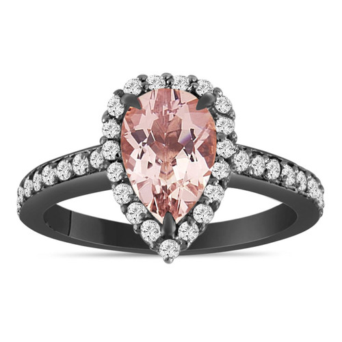1.58 Carat Pear Shape Morganite Engagement Ring, Morganite and Diamonds Wedding Ring Vintage Style 14K Black Gold Certified Pave Halo Unique