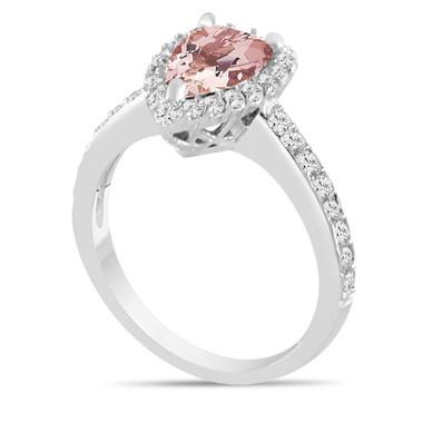 Platinum Pear Shape Morganite Engagement Ring, Pink Peach Morganite & Diamonds Engagement Ring Certified 1.58 Carat Halo Unique Handmade
