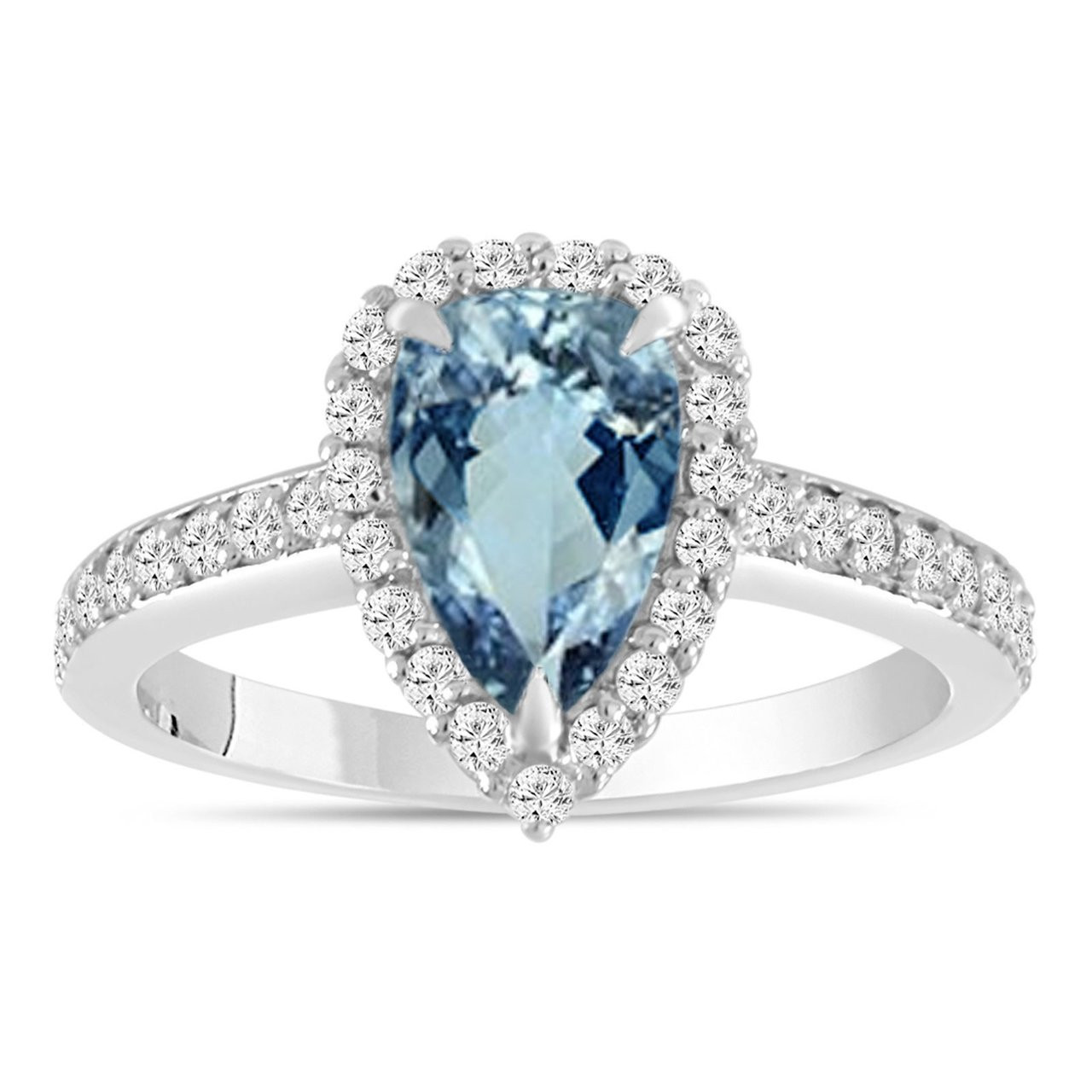 fe537a49cacca Pear Shaped Aquamarine Engagement Ring, Aquamarine and Diamonds Wedding  Ring, 14K White Gold Certified 1.75 Carat Pave Halo Unique Handmade